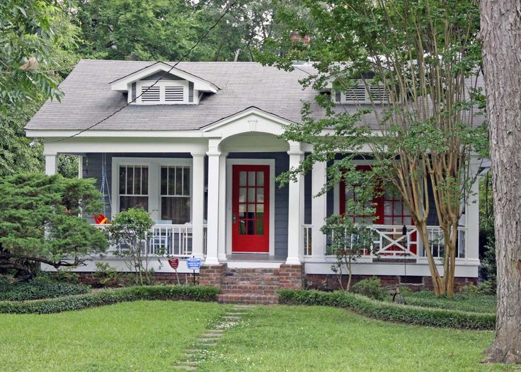 Blue gray house bright red door gray roof white trim for Blue house builders