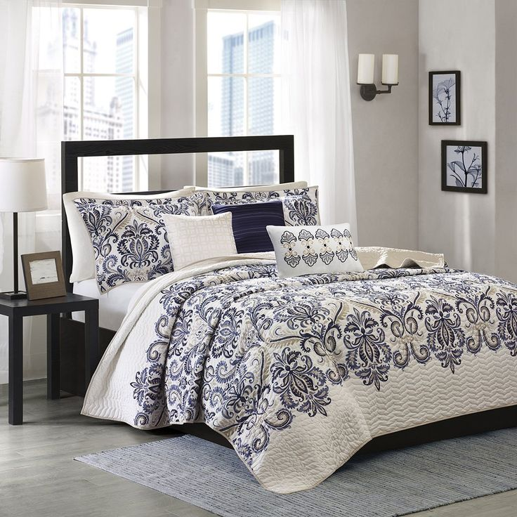 Madison Park Blue Comforter Sets & Curtains Sale Damask