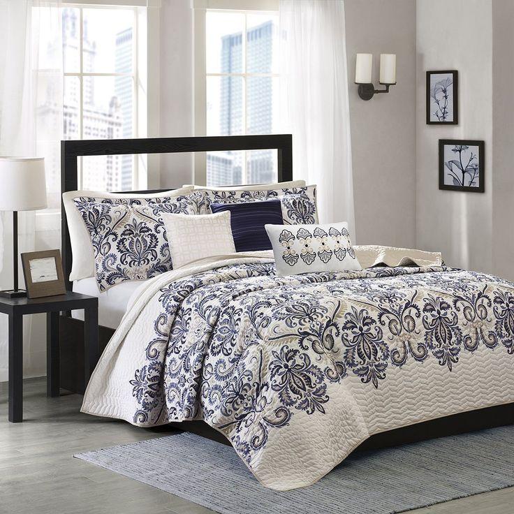 Madison Park Blue Comforter Sets & Curtains Sale Damask
