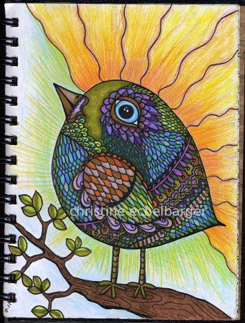 """Good Morning Sunshine""...spiral journal 60....by Christine Echelbarger"