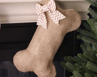 burlap. stocking. dogs.