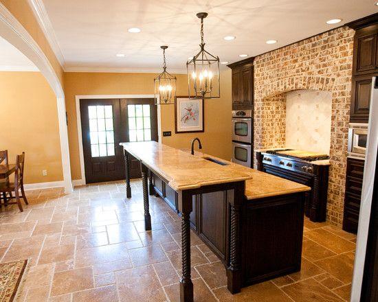 Travertine floor dark cabinets design pictures remodel Travertine kitchen floor ideas