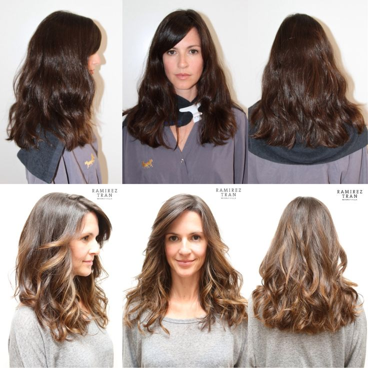 Before & After in LA - Ramirez | Tran Salon - Highlights on a dark brunette: Trans Salons, Hair Haircolor, Color Hair, Hair Makeup, Sunkiss Highlights, Hair Length, Hair Color, Dark Brunettes, Highlights In Dark Hair