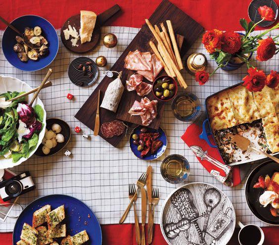 The Menu The Menu —Antipasto Platter —Mushroom and Spinach Lasagna —Tricolore Salad With Parmesan —Garlic Bread —Olive Oil Cake With Vanilla Oranges