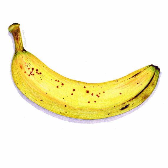 Ripe Banana Art // Food Illustration // от KendyllHillegas на Etsy