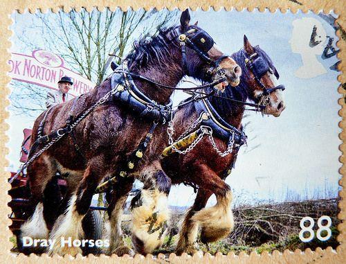 great stamp Great Britain 88p (dray horses, draft horses, Caballo de tiro, Koudbloedras, draught horses, Cheval de trait, Kaltblüter, Тяжело...
