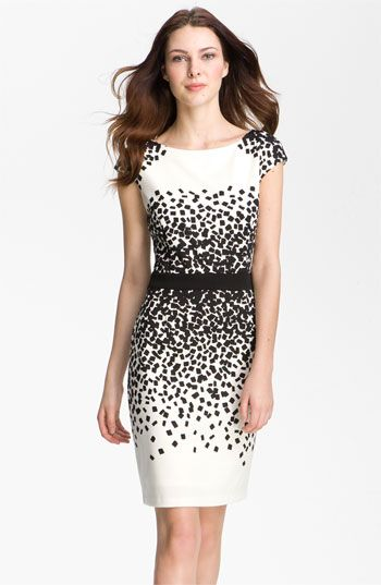 Scatter Print Ponte Sheath Dress