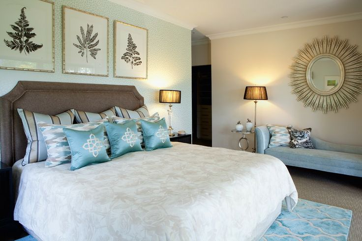 Master Bedroom featuring custom bedhead, bedding, rug and cushions with Mary McDonald applique.