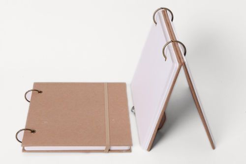 Removable-Ring-Binding-sketchbook-Square-notebook-Kraft-cover-Elastic-band-close
