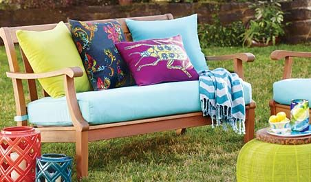 Pretty outdoor furniture...The Valencia Collection-only available in stores.
