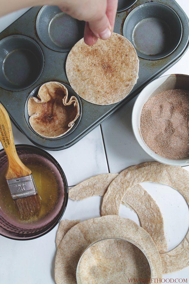 HOW TO: CINNAMON-SUGAR TORTILLA CUPS! | www.diethood.com | #recipe #dessert