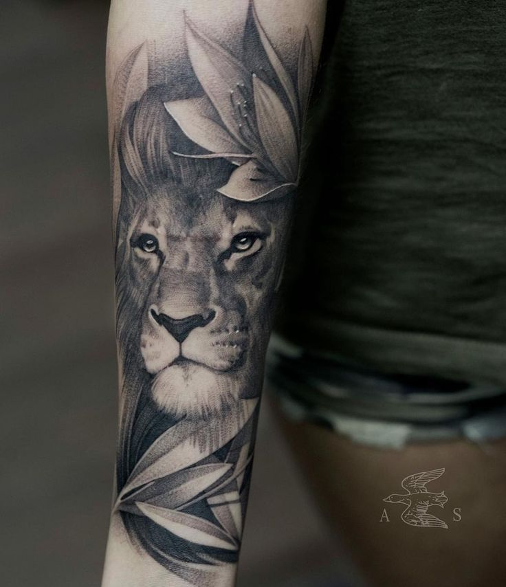 blackwork lion with plants tattoo design on the forearm