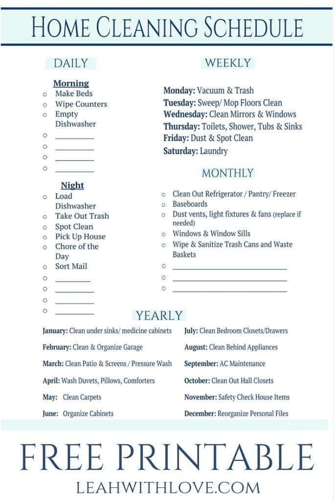 FREE PRINTABLE home cleaning schedule. A checklist to keep up on cleaning with less stress.