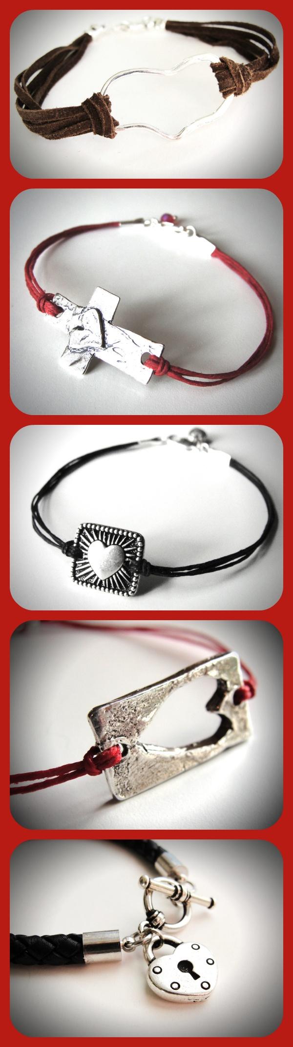 Sterling, linen or leather Heart bracelets from JewelryByMaeBee on Etsy.
