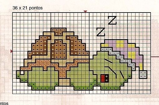 turtle, cross stitch