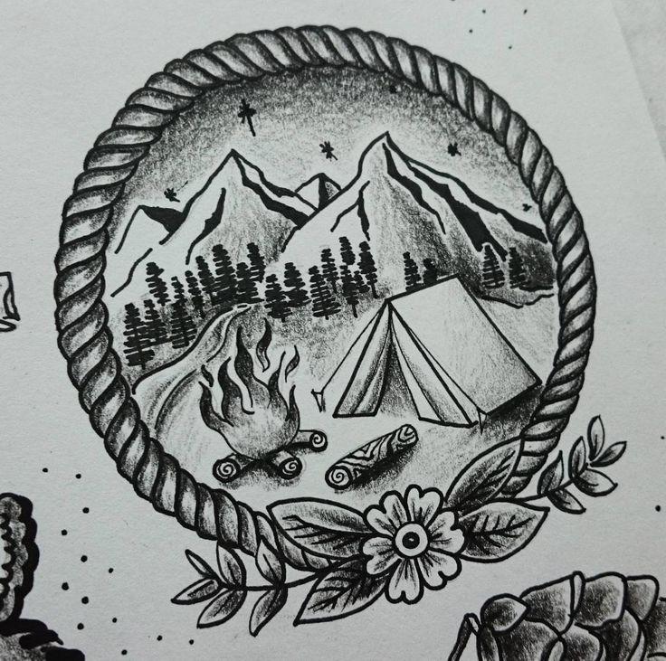Coming home #art #nature #tattoo #oldschooltattoo #stippletattoo #camping…