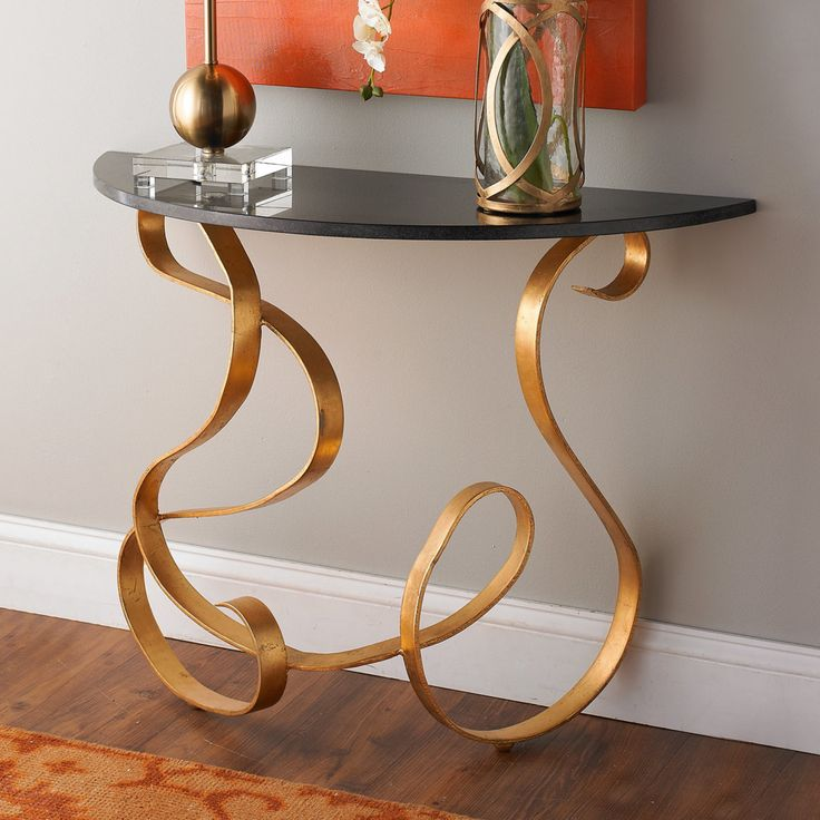 Marble Top Ribbon Side Table gold_black