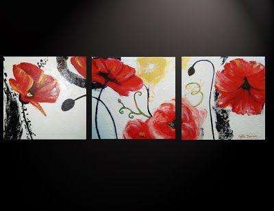 Cuadros Abstractos Tripticos Dipticos Flores Modernas - $ 450,00 en MercadoLibre