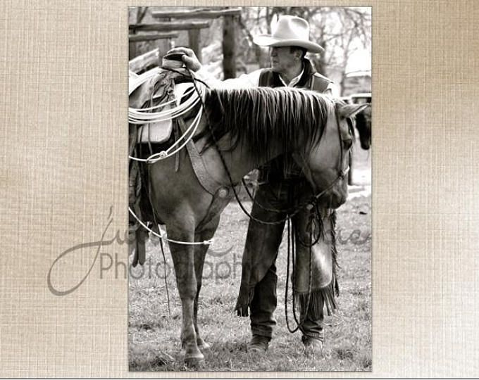 Montana Western Cowboy and Horse- Wall Art Decor - Fine Art Photography Canvas Gallery Wrap - Country Rustic Horse Cowboy Black & White West