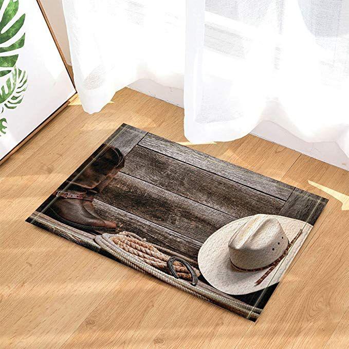 Western Decor Cowboy Hat Boots And Rope Against Retro Wooden Board Bath Rugs Non Slip Doormat Floor Entryways Indoor Front Door Mat Kids Bath Mat 15 7x23 6in Ba Kids Bath Mat Front Door