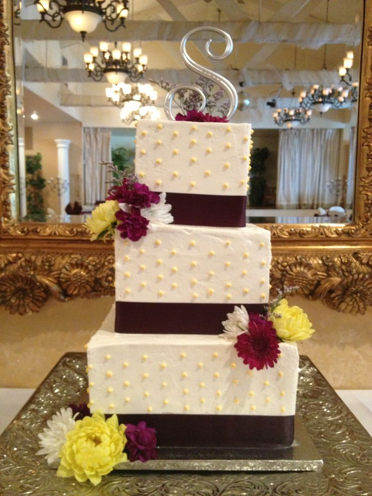 wedding bakeries in sacramento ca%0A Square buttercream wedding cake with purple ribbon boarder and swiss dots   Cake and dessert by