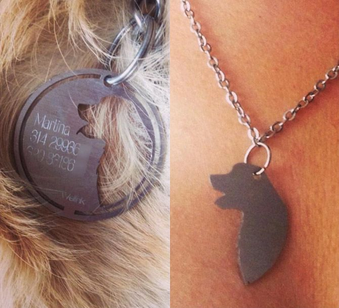 Welink is a dog collar that is custom made for your dog that features a silhouette of your dog that un-clips from the dog tag for you to wear as a necklace or use as a charm on a bracelet or any piece...