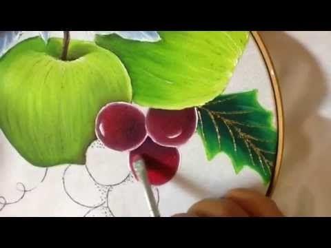Pintura en tela uvas de nochebuena azul # 5 con cony - YouTube