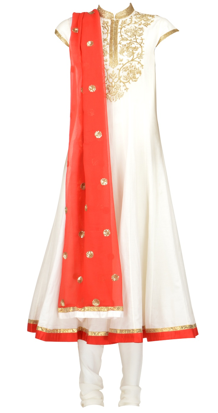 Amrita Thakur's Ivory cotton silk panelled kurta with faresha embroidery on kurta. It comes with a red pure chiffon dupatta with a cotton silk churidaar. Shop at https://www.perniaspopupshop.com/whats-new/amrita-thakur-4