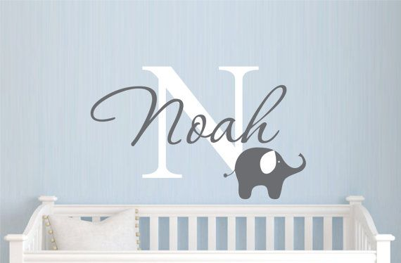 Childrens Name Elephant Wall Decal - Boys Name Vinyl Wall Decal - Baby Nursery Wall Decal on Etsy, $25.41 CAD