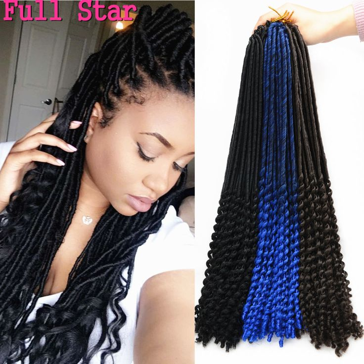 24 Roots Crochet Braids Faux Locs Curly Ends 20 Inch Goddess faux locks crochet braiding hair Extension wavy Ends Soft locs hair
