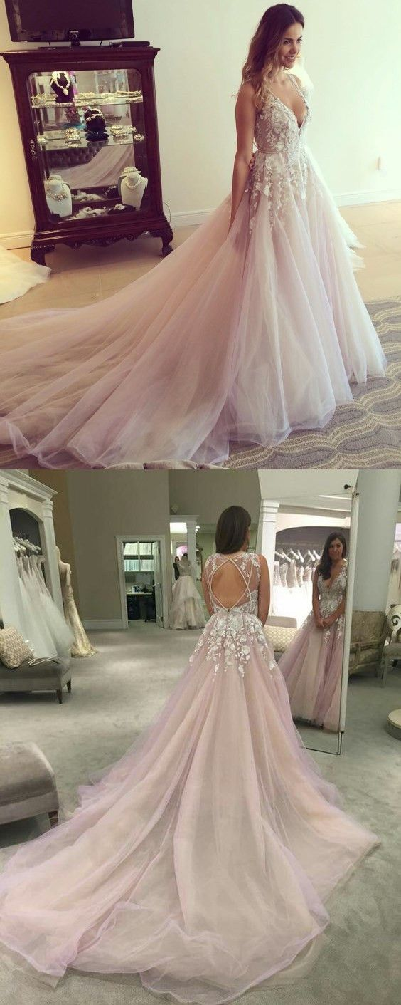 2017 prom dress, long pink prom dress with white lace, 2017 wedding dress, deep v-neck party dress