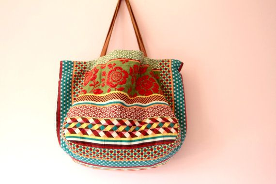 Everyday tote bag  Boho bag leather straps  by PlimplimBoutique
