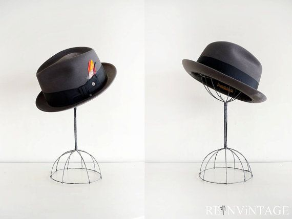 vintage men's hat : 1960s charcoal gray feather hat by Knox Hallmark Series