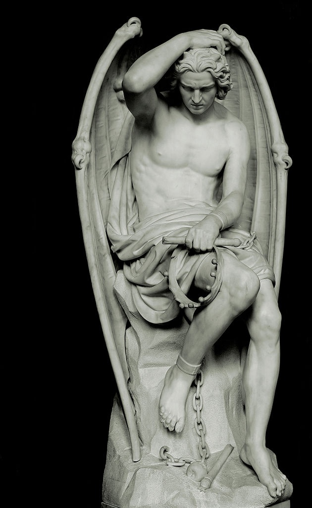 Lucifer (Le génie du mal) by Guillaume Geefs (Cathedral of St. Paul, Liège, Belgium)    He appears to be holding his crown, part of his broken scepter, is chained to the rock by one foot and there is an apple laying by his feet.: Sculpture, Statue, Fallen Angel, Art, Lucifer, Du Mal