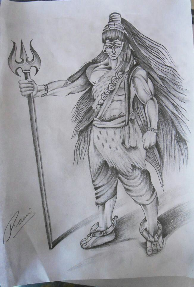 Easy Pencil Drawings Of Lord Shiva Shambhu More Step 4 How To