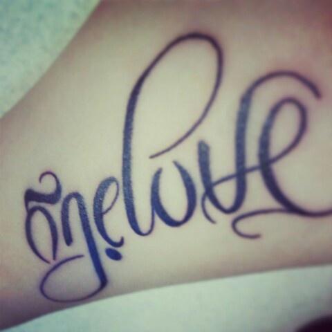 Ambigram tattoo! (Onelove/Family) <3