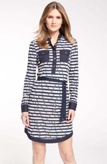 Tory Burch 'Suzette' dress in Nautical: Nautical Style, Burch Suzett, Nautical Shirtdress, Nautical Shirts, Summer Work Dresses, Tory Burch, Shirts Dresses, Nautical Dresses, The Dresses