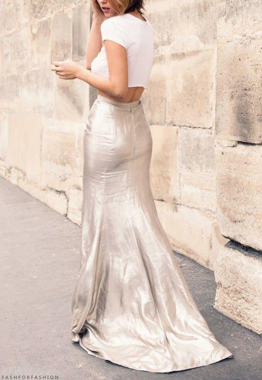 Mermaid metallic skirt & crop white sweater. ! I need to have a metallic skirt. In silver.