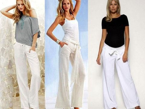 Летние женские брюки из льна