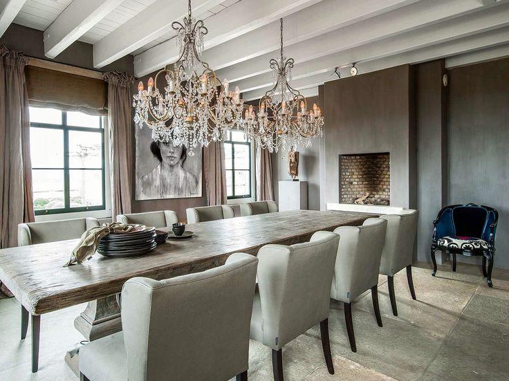 Eethoek mooi lang eettafel stoelen en openbaard woon keuken pinterest rustic modern - Moderne eettafels ...
