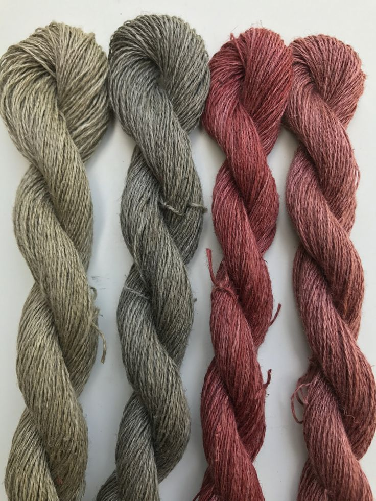 Left to right, skeins of linen mordanted with oak galls and then alum, then dyed with fresh nettles from my garden, same nettles with iron modifier, dried madder from Davero Farms & Winery, same madder with alkaline modifier.