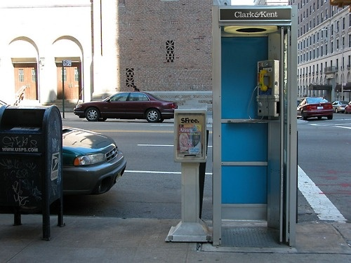 From project to real life...here's Clark&Kent headquarter in a phone booth in New York!