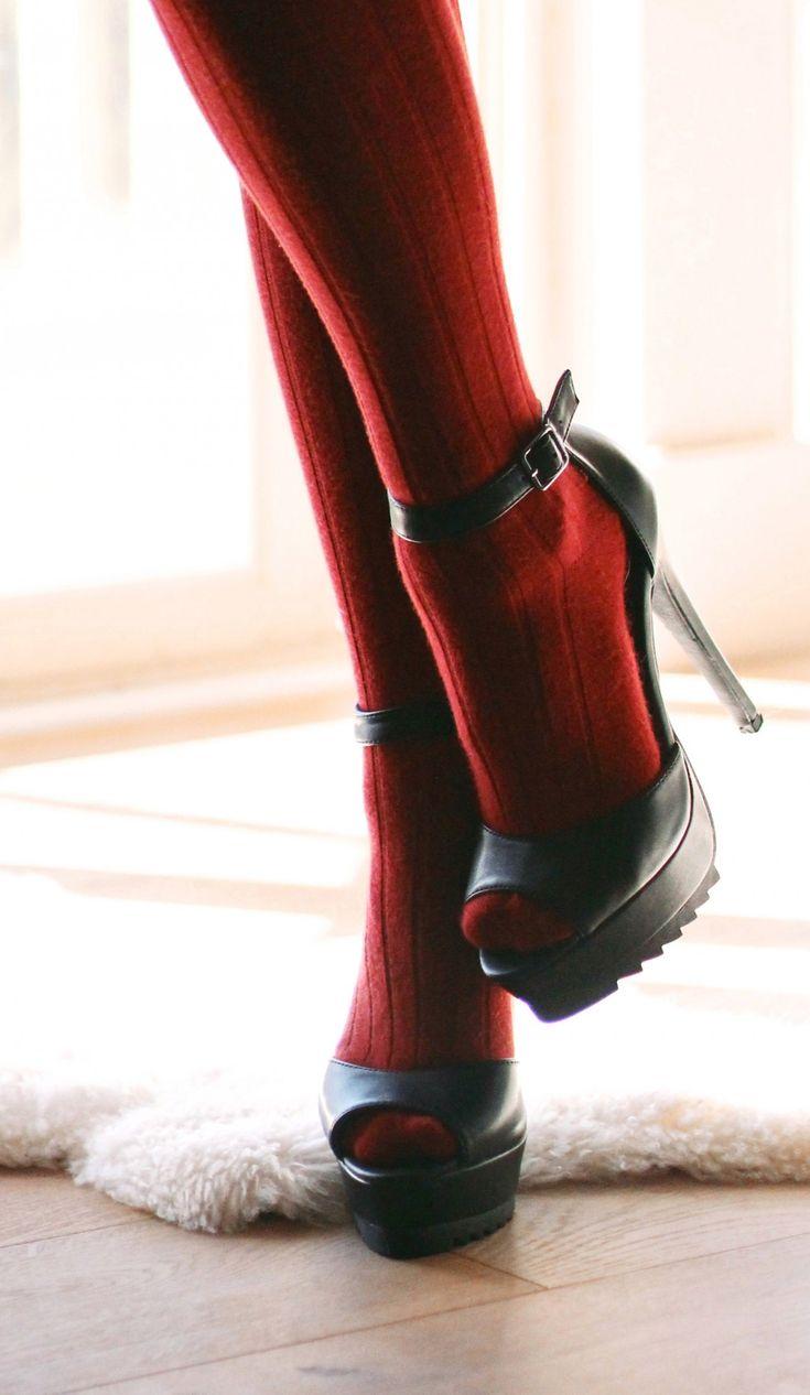 Nasty Gal peep toe heels pair with knee high socks