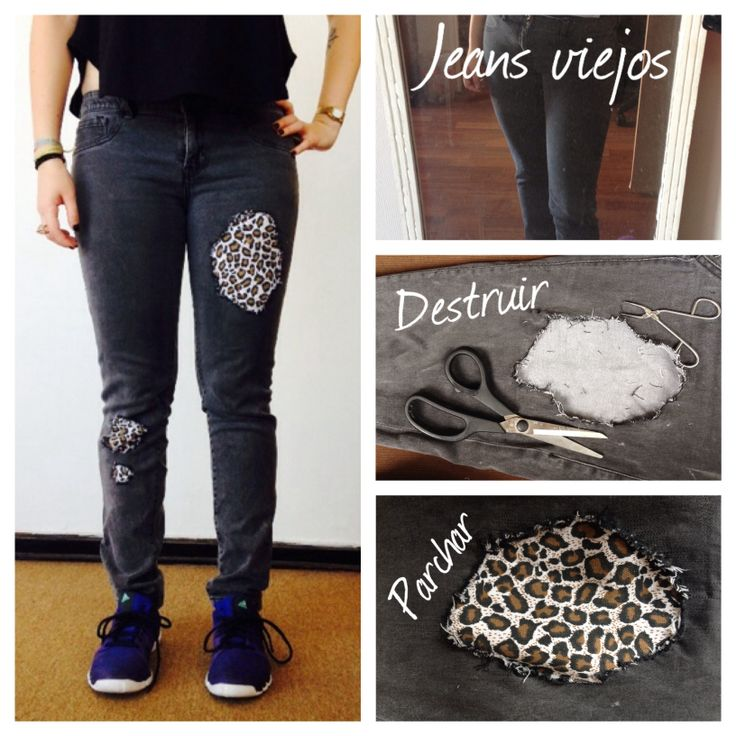 """Animal print patched jean. A good way to """"revive"""" an old jean. Easy."""