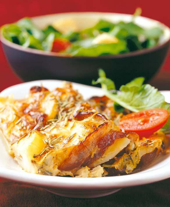 Caramelised onion, potato and feta bake