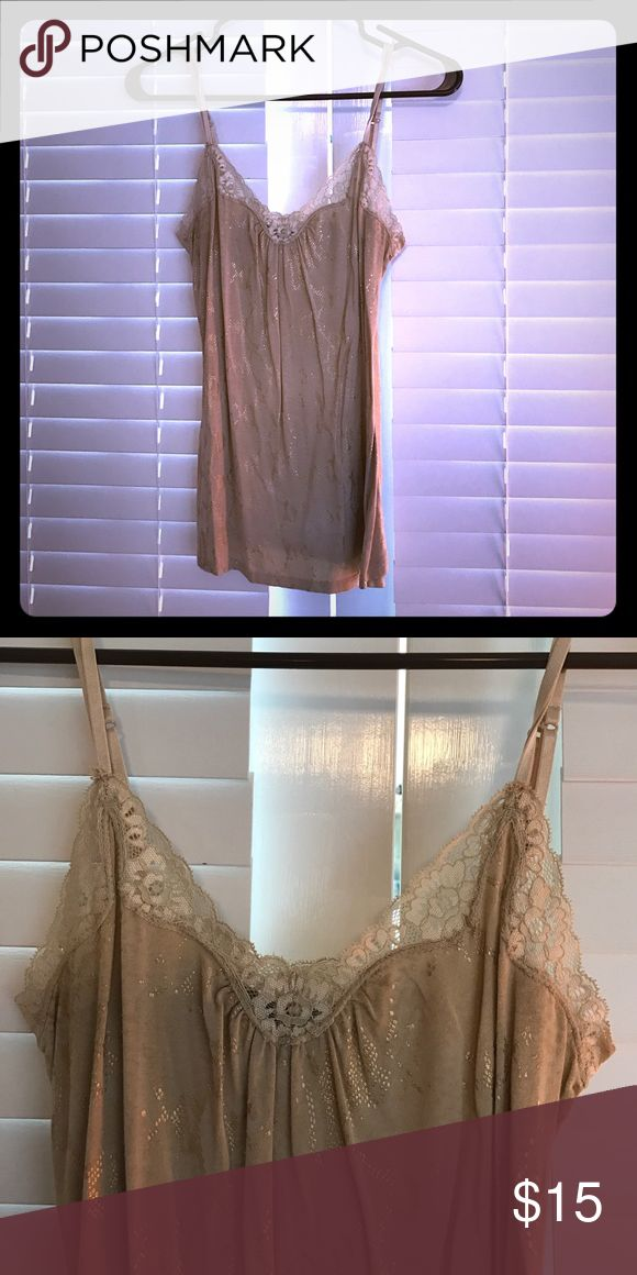 Gold cami Tan cami with gold and lace detail Express Tops Camisoles