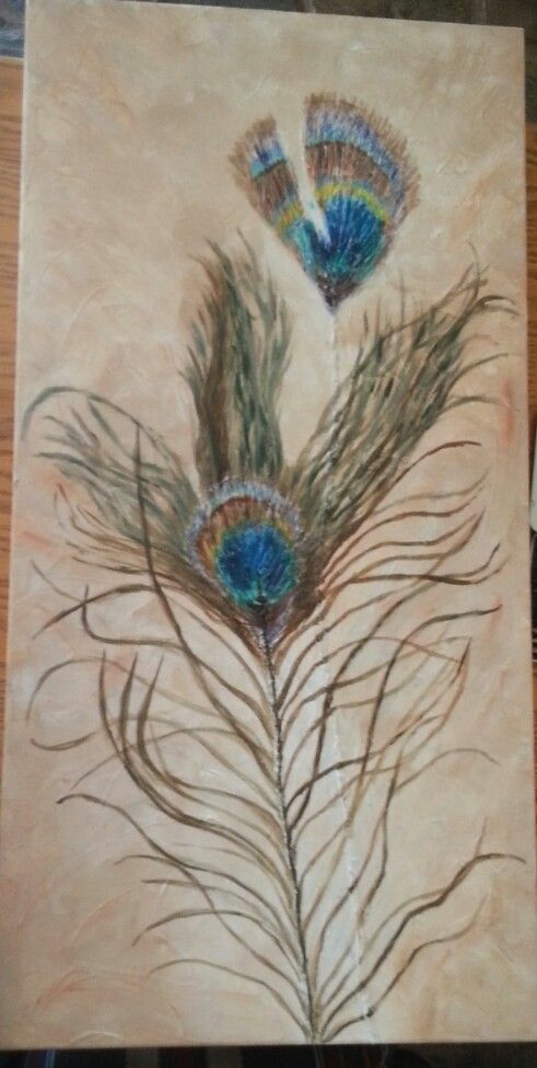Peacock fathers in acrylic by Leigh