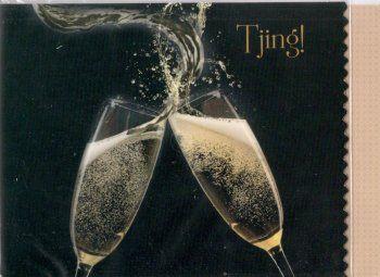 Tjing!    Feestelijke fotokaart om te klinken op een bijzonder moment