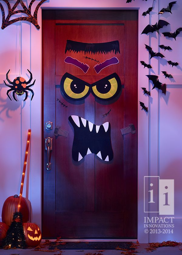 Halloween Door Decor- Our Monster Door Decor will attract all sorts of Trick or Treaters! #HalloweenDecor #HalloweenParty #SeasonalDecor #impactinnovationsinc