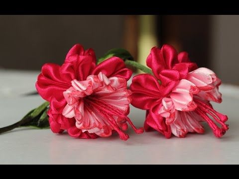 Цветок эльфов - ФУКСИЯ канзаши из лент, мастер класс / DIY Ribbon Flower Kanzashi - YouTube